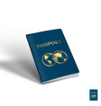 3d passport with two globes travel concept vector image