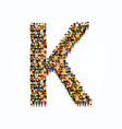 a group of people in english alphabet letter k vector image
