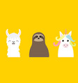 alpaca llama sloth unicorn set cute cartoon funny vector image
