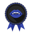 best vampire award badge blue woman lips vector image