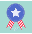 Blue badge with ribbons Award icon Star and strip vector image vector image