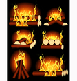 Bonfire collection vector image vector image