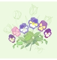 Bouquet with pansies and tulips vector image vector image