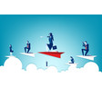 business people flying on paper plane concept vector image