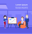 business woman holding presentation training or vector image