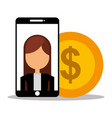 businesswoman in smartphone with coin dollar vector image vector image
