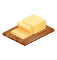 butter on wood icon realistic style vector image