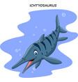 cartoon smiling ichthyosaurus vector image vector image