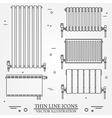 Central Heating Radiators icons thin line for web vector image vector image