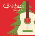 christmas guitar red background greeting card vector image vector image