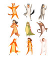collection of funny people in animal costumes men vector image vector image