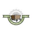 Color vintage coal mining emblem vector image vector image