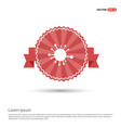connection of cells molecule icon - red ribbon vector image