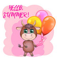 cute cartoon bull with balloons among flowers vector image vector image