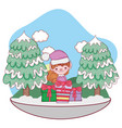 cute santa helper with gifts in the snowscape vector image