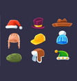 different types of hats and caps warm and classy vector image