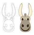 donkey cartoon faceflat stylefront view vector image vector image