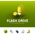 Flash drive icon in different style vector image