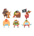 funny brave sailors pirates and captain set male vector image vector image