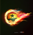 Ghana flag with flying soccer ball on fire vector image vector image