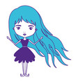 girly fairy without wings and long hair and dress vector image