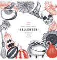 halloween design template hand drawn banner vector image vector image