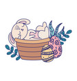 happy easter day rabbit in basket eggs nature vector image