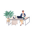 happy young man working with laptop at desk vector image vector image
