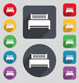 Hotel bed icon sign A set of 12 colored buttons vector image vector image