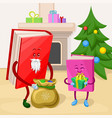 humanized books characters celebrating xmas vector image vector image