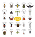 Insects icon flat style 24 pieces in set Colour vector image vector image
