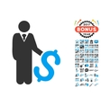 Investor Icon With 2017 Year Bonus Pictograms vector image