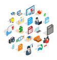 journalist icons set isometric style vector image vector image