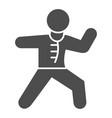 karate sportsman solid icon self defense concept vector image vector image