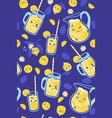 kawaii lemonade seamless pattern on a blue vector image