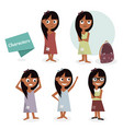 kids characters cartoon girls set vector image