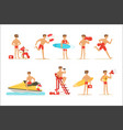 lifeguard man character doing his job water vector image
