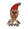 monkey print happy new year card year of monkey vector image