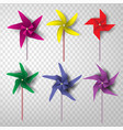 paper art and craft of colorful turbine set vector image