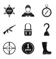 police stuff icons set simple style vector image