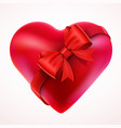 red valentine heart gift with bow and tape vector image vector image