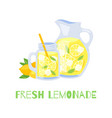 refreshing lemonade glass jar with straw and vector image