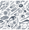seafood and fish seamless pattern hand drawn vector image vector image