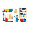 service delivery set trucks transport warehouse vector image