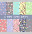 set 10 pastel seamless patterns graphics vector image