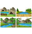 set different landscape vector image