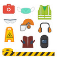 set of safety equipment for construction and vector image vector image