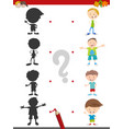 shadow activity with kids vector image vector image