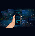 smart technology interface on smartphone vector image vector image