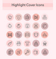 social media collection pink and black line vector image vector image